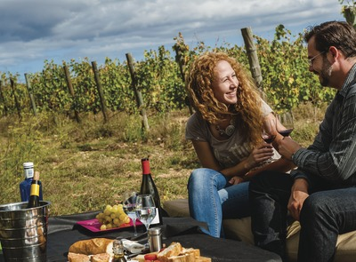 Terra Remota. Picnic couple toasting with wine next to the vineyards (© Marc Castellet)